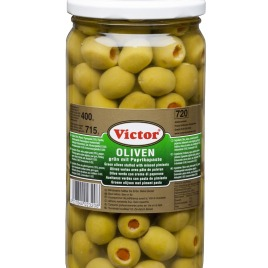 Olives in jars – green filled with red peppers