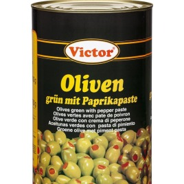 Olives in cans – green filled with red peppers