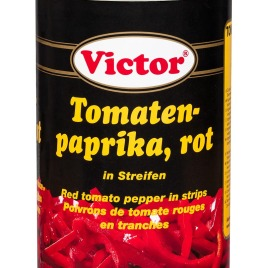 Red tomato peppers in cans – in stripes