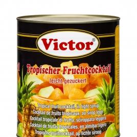 Tropischer Fruchtcocktail in Dosen – leicht gezuckert