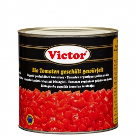 Organic tomatoes in cans – peeeled and diced